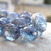 Blue Mystic Quartz Onion Briolette Gemstone Navy Silver Tanzanite Faceted Drop 8mm 1/2 Strand Wholesale