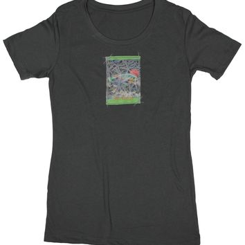 Amazing Creatures: Women's Nature Amour Fish and Starfish T-shirt, Charcoal Grey