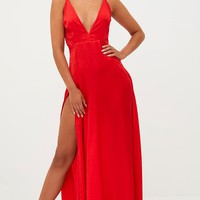 Red Extreme Split Strappy Back Maxi Dress