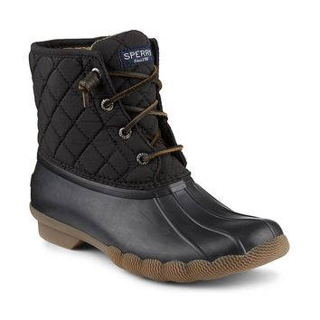 Women's Saltwater Quited Duck Boot in Black by Sperry