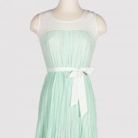 Carousel Melody Sleeveless Accordion-Pleat Dress in Mint Green | Sincerely Sweet Boutique