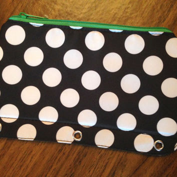 Monogrammed Polka Dot Binder Pouch - Back To School, Southern, Monogram