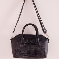 Missguided - Mix Croc Midi Kettle Tote Bag Black