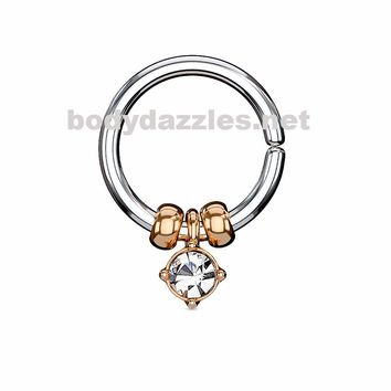 Rose Gold Annealed Bendable Cut Ring with Removable Prong Set Crystal and Steel Beads 18ga 16ga
