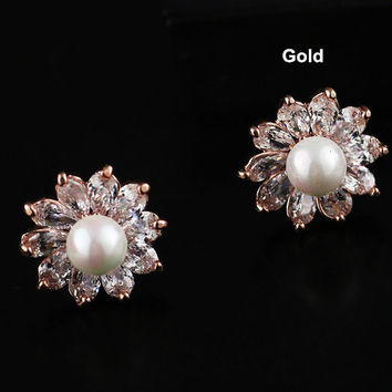 Crystal Flower Bridal Earrings Jewelry Floral Earrings Jewelry Bridal Pearl Stud Earrings Fashion Earrings Cuff Wedding Earrings Jewelry