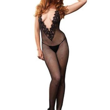 CREYI7E Fishnet halter bodystocking w/chantilly lace and open back in BLACK