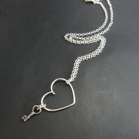 Sterling Silver Floating Heart and Key Necklace Heart and Key Pendant Necklace Handmade Metal Jewelry