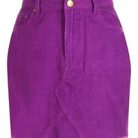 Cord Purple Denim Mini Skirt | Boohoo