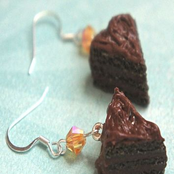chocolate cake dangle earrings