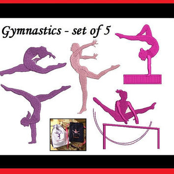 Gymnastics Embroidery Design - 5 designs - Machine Embroidery - INSTANT DOWNLOAD