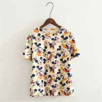 Disney Mickey Minnie Mouse Floral Printed Everyday Wear  Casual Party Wear Holiday Plain Short Sleeve Top Shirt Blouse T-Shirt _ 4255