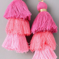 PINK TIERED TASSEL EARRINGS