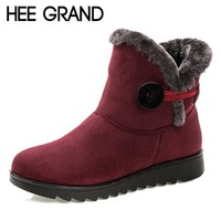 HEE GRAND Winter Women Boots Flock Warm Ankle Snow Boots  Platform Mother Shoes Woman Slip On Flats Button Creepers XWX1597
