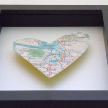 Heart Map Art - *Other Cities Available* - Seattle Map - Vintage Heart Map - Shadowbox Decor - 3D Art