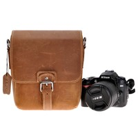 ZLYC Handmade Small Removable Padded Leather Messenger Shoulder Camera Bag for DSLR Camera and Lens, Brown