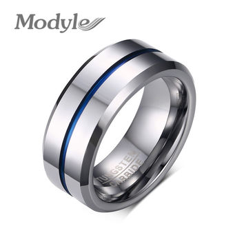 Modyle 2016 Fashion Thin Blue Line Tungsten Ring Wedding Brand 8MM Tungsten Carbide Rings for Men Jewelry