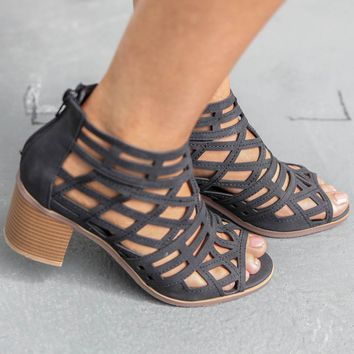 Late Arrival Black Peep Toe Heels