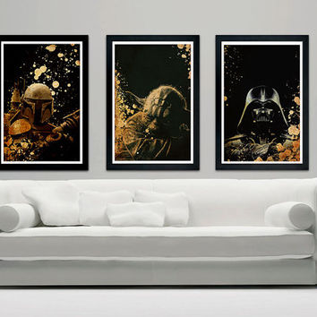 "Star Wars poster set Boba Fett, Yoda, Darth Vader  12""x18"" print"