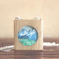 Mountain necklace- Hand painted wooden necklace - illustrated mountain necklace, under 50 for women