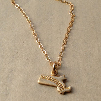 Tiny Massachusetts Necklace, Mini Massachusetts charm on thin gold fill chain