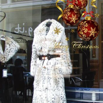 cik1156 Full Color Wall decal Merry Christmas wishes balls storefront window of the shop