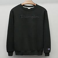 Champion New fashion embroidery letter couple long sleeve top sweater Black