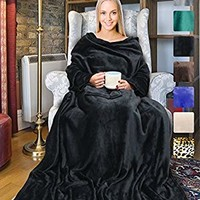 "Terrania Wearable Fleece Blanket with Sleeves and Pocket for Women Men, Super Soft Microplush Adult Wrap Full Body Blanket Robe for Lounge Couch As Seen On TV 73"" x 51"" 
