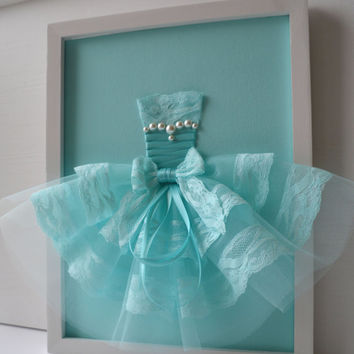 Turquoise Princess Dress. Framed wall art for girls room.