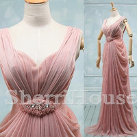 Beads Ruffled V-Neck Wide Straps Empired Long Bridesmaid Celebrity dress ,Floor length Chiffon Evening Party Prom Dress Homecoming Dress