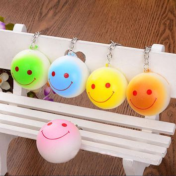 Kawaii Bun Squishy Buns Bread Charms Key Bag Key Chains Cell Phone Straps Bag Parts & Accessories 1 PCS Candy Color 4cm