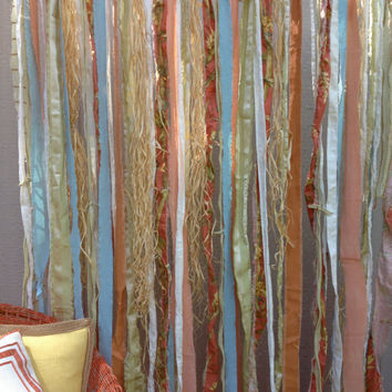 Fabric Garland - Tiki Bar, Beach, Seaside, Coastal, Raffia, Key West - Wedding, Photo Backdrop, Summer Cottage - Coral, Salmon,