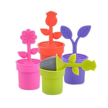 Silicone Flower Pot For Tea Bag Hanging Tea Infuser Tea Strainers Filter Tea