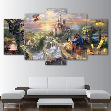 Wall Art Home Decor / Living Room 5 Pieces Castle Beauty And The Beast Painting