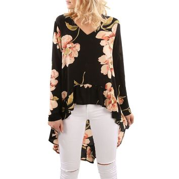 Women Kimono Blouse 2018 Floral Print Long Sleeve Shirt Casual Blouse Ruffles Irregular Tops