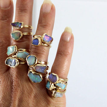Raw Opal Ring, Raw Stone Ring, Gift For Her, Stackable Gemstone Ring, Solitaire Ring, Australian Opal Ring, Unique Design By Inbal Mishan.