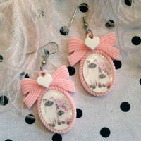 Siamese Twins Pastel Pink Small Cameo Earrings