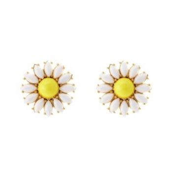White Faceted Stone Daisy Stud Earrings by Charlotte Russe