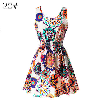 Women Chiffon Beach Dress Sleeveless Sundress Floral Mini Dresses Vestidos YRD