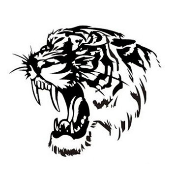 28*28CM Reflective Car Sticker Decals TIGER Head Hood Of Car And Motorcycle Side Car Stickers Steller Black Silver Yellow CT-576