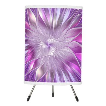 Pink Purple Flower Passion Abstract Fractal Art Tripod Lamp