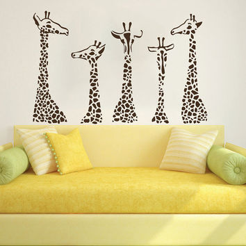 Wall Decal Giraffe Vinyl Sticker Decals Art Home Decor Design Mural Animals Jungle Safari African Kids Children Nursery Baby Bathroom AN688