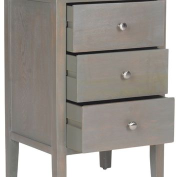 Deniz End Table With Storage Drawers French Grey
