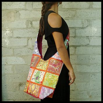 Patchwork beaded travel tote