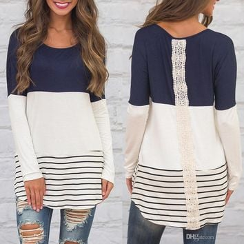 fashion new arrival women clothing Lady O-Neck Long Sleeve Contrast Color striped Lace Patchwork Tunic Tops female t-shirt