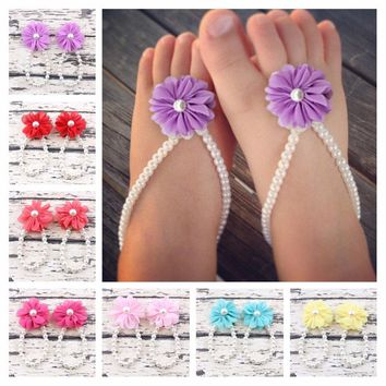 New Fashion Baby Girls Chiffon Flower Barefoot Sandals Baby Casual Summer Shoes Kids Elastic Pearls Sandals 7colors