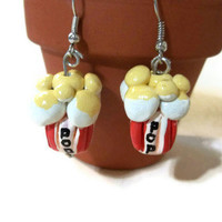 Popcorn Earrings, Polymer Clay Charms, Popcorn jewelry, Popcorn accessories, Food Miniatures, Polymer Clay