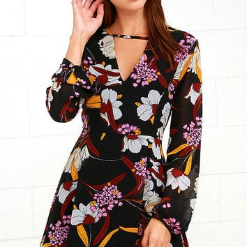 Mink Pink Lost In Paradise Black Floral Print Dress