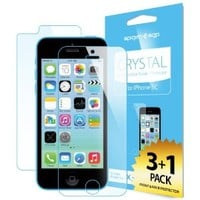 iPhone 5C Screen Protector, Spigen® [Crystal Clear] [4-PACK] JAPANESE BASE PET FILM Premium Front and Back Screen Protector for iPhone 5C - Crystal CR (SGP10350)