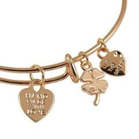 Expandable Bangle Bracelet Hand Made with Love Charm Rose Gold Plate
