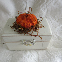 Rustic Woodland Cottage CHic Fall Autumn Wedding Ring bearer Box With Moss and Mini Pumpkin